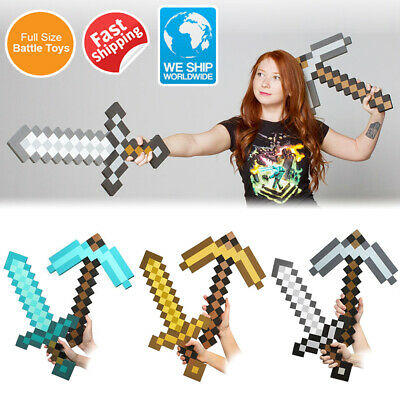 Large Blue Sword Pickaxe Action Fun Kids Toy Pattern Cosplay EVA Game Gift New