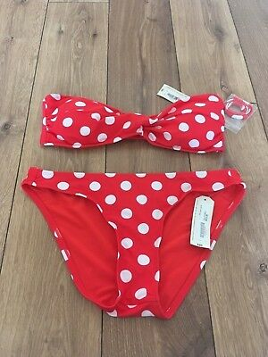 85ce52a05cfc0 AriZona Red & White Bikini Bottom Medium Top Large New With Tags £20 each