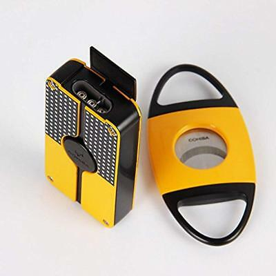 New COHIBA Yellow Classic 3 Torch Jet Flame Cigar Lighter W/Saw Cutter Punch