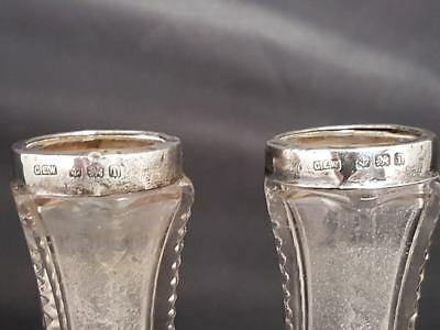 Pair Of Antique Cut Glass Posy Vases With Sterling Silver Hallmarked Collar 1908