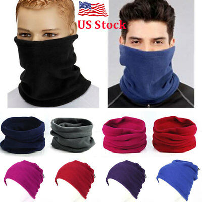 US Men Women Scarf Winter Warm Fleece Scarves Collar Bandanas Ski Beanie Hat