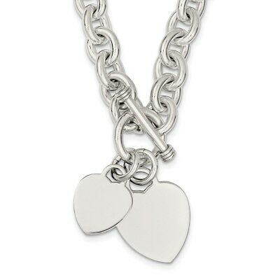 925 Sterling Silver Engraveable Heart Disc on Fancy Link Toggle Necklace 18inch