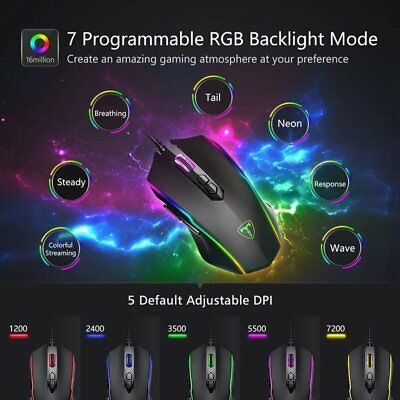 Ergonomic Optical Wired Gaming Mouse RGB Backlit 8 Programmable Button Mice