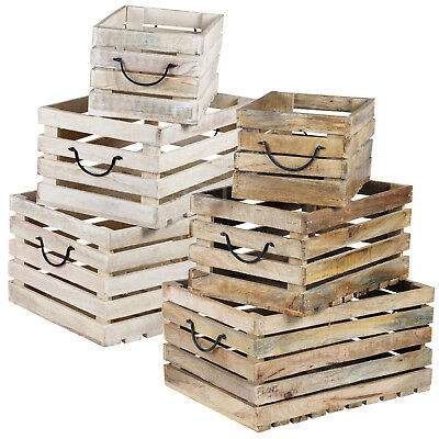 3pc Rustic Wooden Storage Boxes Slatted Crates Nested Shabby Chic MDF Box Set