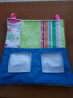 Fabric Hay bag small patchwork green blue dots - guinea pig, bunny clips too