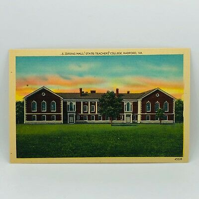 Postcard Virginia Dining Hall State Teachers College Radford Linen Unused C-27g