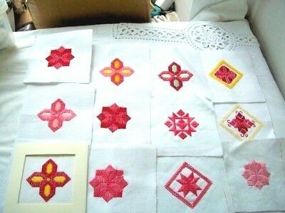 Needlepoint -  12  x Finished squares, ideal for card making         ref 2B