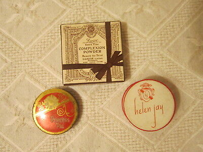 Vint 3 Small Sample Boxes Of Lady's Face Powder Princess Pat/helen Jay/luxor