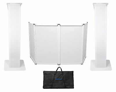 (2) Rockville RTP32W Totem Moving Head Light Stands+Black+White Scrims+Facade
