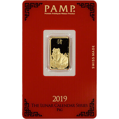 5 gram Gold Bar - PAMP Suisse - Lunar Year of the Pig - 999.9 Fine in Assay