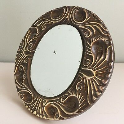 Small Antique Brass Arts & Crafts Mirror Strut / Wall Round Foxed Glass 19cm m48