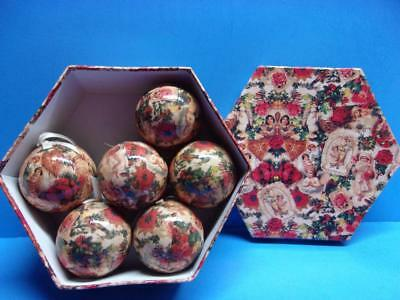 Vintage Decoupage Victorian Style Christmas Ornaments in Box Roses Angels More
