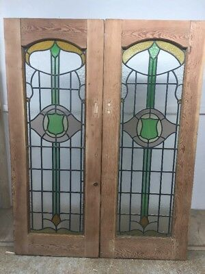Restored Stained Glass Doors Antique Period Reclaimed French Double Lead Pine