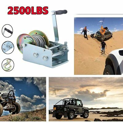 Heavy Duty Manual Hand Crank Strap Gear Winch For Car Truck Boat Trailer 2500lbs