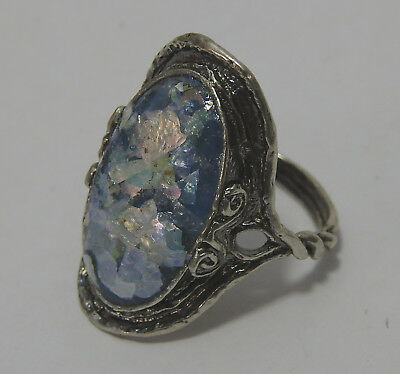 PAZ Creations Israel Ancient Roman Glass Ring s10 Sterling Silver Holy Land NEW