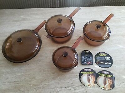 Vision by Corning 3 Saucepans And 1 Frying Pan All With Lids FREE POSTAGE
