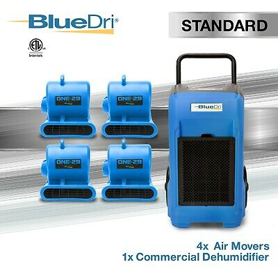Bluedri Standard Pack 1, 4x Air Movers, 1x Dehumidifier Water Damage Restoration
