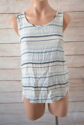 Jeans West Top Sz 8 Small Pink Blue White Striped Sleeveless Tank Top