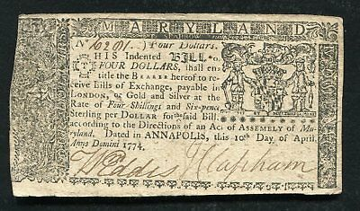Md-68 April 10, 1774 $4 Four Dollars Maryland Colonial Currency Note (B)