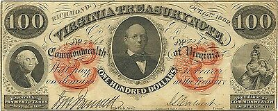 1862 $100 Virginia Confederate Civil War Treasury Note - Governor Letcher -Crisp