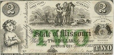 1862 State Of Missouri $2 Civil War Currency Note - Beautiful Choice Crisp