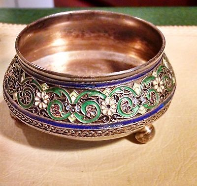 Imperial Russian Silver & Cloisonne Salt By Pavel Ovchinnikov 1883-86 Beautiful