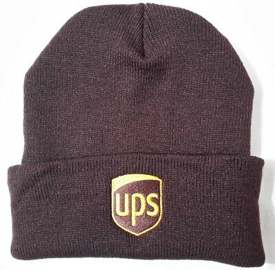 UNITED PARCEL SERVICE UPS Brown Knit Beanie Winter Skull Cap Cuffed 100% ACRYLIC