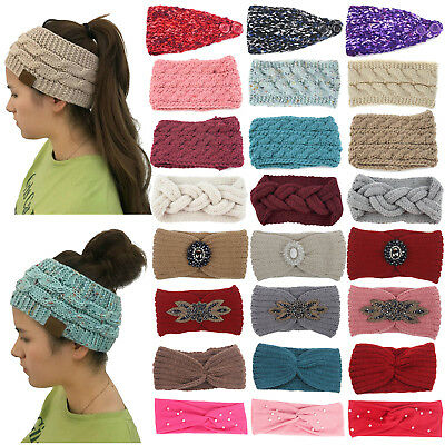 Women's Winter Knitted Ear Warmer Headband Ladies Crochet Wool Hat Hairband