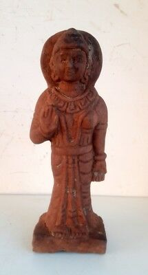 Antique Old Sand Stone Hand Carved Hindu Goddess Laxmi Standing Sculpture Statue