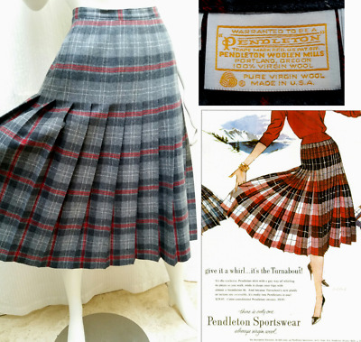 2c3a6ebb8 Vintage PENDLETON TURNABOUT PLEATED GREY RED PLAID WOOL SKIRT - Waist 28  inches