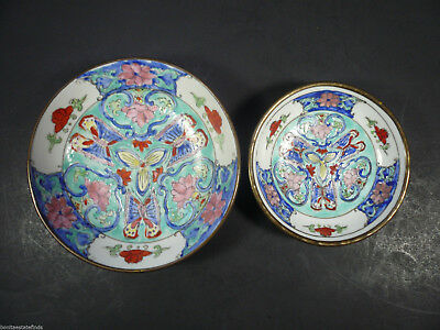 2 Antique Japanese Hand Painted Porcelain Bowls Brass Encased Wall Hanging