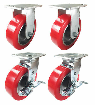 "4 Heavy Duty Caster Set 6"" 8"" Polyurethane on Aluminum Wheels Rigid Swivel Brake"