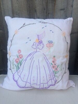 "Vintage Crinoline Lady Hand  Embroidered Cushion 16"" X 18"" VGC Beautiful English"