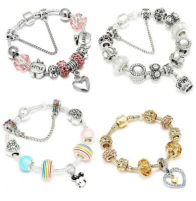 Fashion Charm Beaded Silver Bracelet For Women Pink Heart Beads Bangles S 925