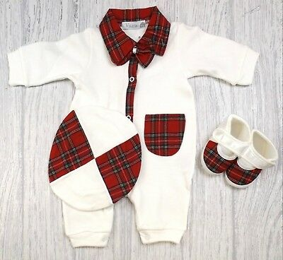 Baby Boys Girls Spanish Style Romany Tartan Trim Romper Beret Shoes Outfit  AW18