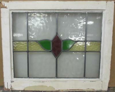 """OLD ENGLISH LEADED STAINED GLASS WINDOW Cute Floral Band Design 20.75"""" x 17"""""""