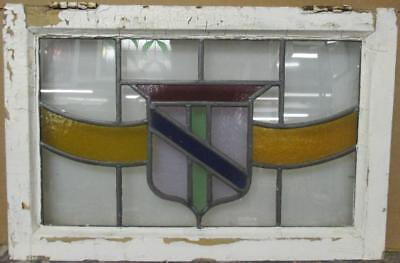 "MID SIZED OLD ENGLISH LEADED STAINED GLASS WINDOW Colorful Shield 25"" x 16.75"""