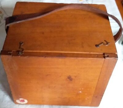 L@@K P.M.G. Post master general wooden dove tailed carry box. Phone, light etc
