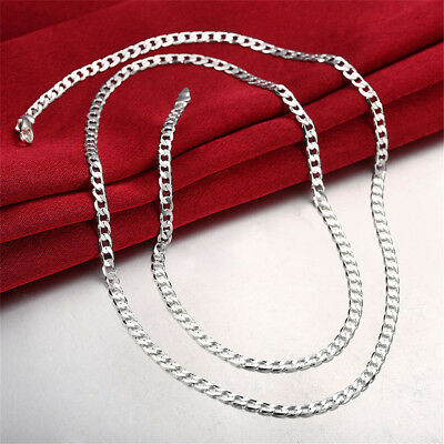 Stunning 925 Sterling Silver Filled 4MM Classic Curb Necklace Chain Wholesale RN