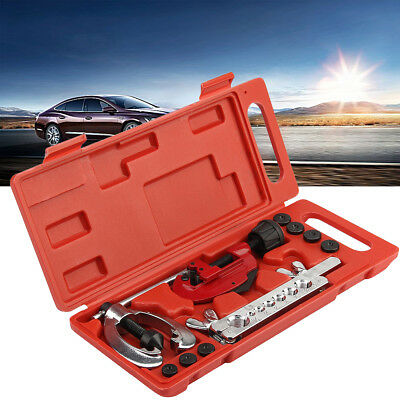 Lines Pipe Double Flare Tool Kit Flaring Cutting 7 Dies Tube Brake