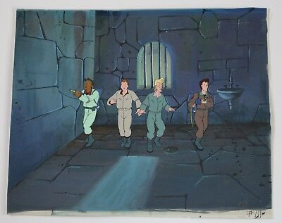 Rare The Real Ghostbusters Full Team Cartoon Producton Animation Art Layered Cel