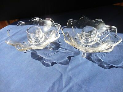 Vintage Fenton Pair of 9- Petal Clear 3 Toed Candleholders 1930's Glows Uranium