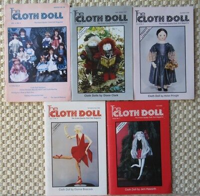 Lot of 5 The Cloth Doll Magazine Book 1985-1990 Patterns Much More Artists