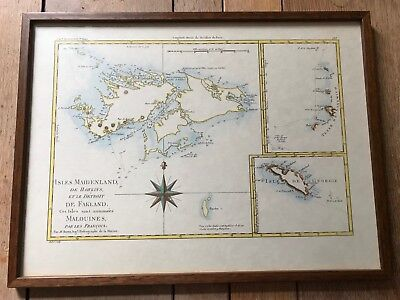 Reproduction Antique Map.  Falkland Islands.  Rigobert Bonne.  1787.  Framed.