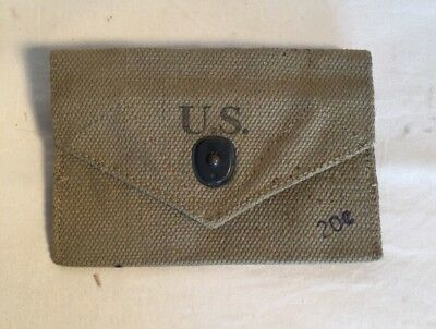 New old stock WWII US Army USMC First Aid belt canvas pouch 1943 JEFF. O.M.D.