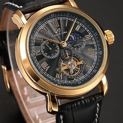 KS Navigator Men's Black Gold Automatic Mechanical Sport Wrist Watch Tourbillon
