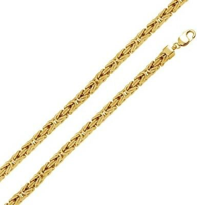 Mens 925 Sterling Silver Gold Plated Hollow Byzantine Chain 7.8mm