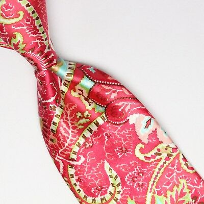 099d9909bf7d4 Ted Baker London Mens Silk Necktie Pink Red Green White Bright Paisley  Print Tie