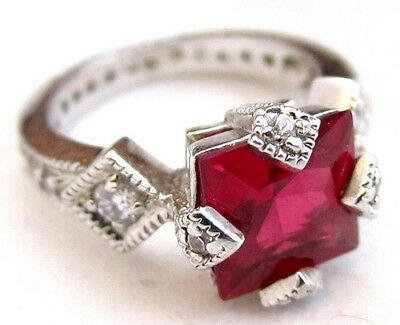 Luxury Art Deco Style Princess Cut Red Synthetic Ruby Sterling Silver Ring*D755