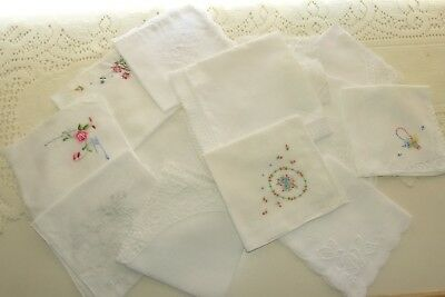 Jewellery Twelve Lovely Hand Crafted Lace & Embroidered Handkerchiefs
